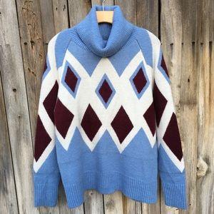 NWT J. Crew Oversized Turtleneck Sweater Blue S